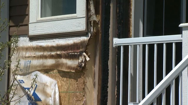 Fire damage to the exterior of a duplex in Redstone following Tuesday morning's fire
