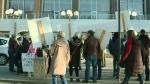 Protestors against Wascana Park construction