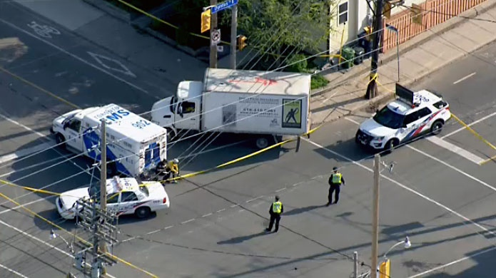 A cyclist suffered critical injuries after being hit by a truck in Leslieville on May 16, 2018.