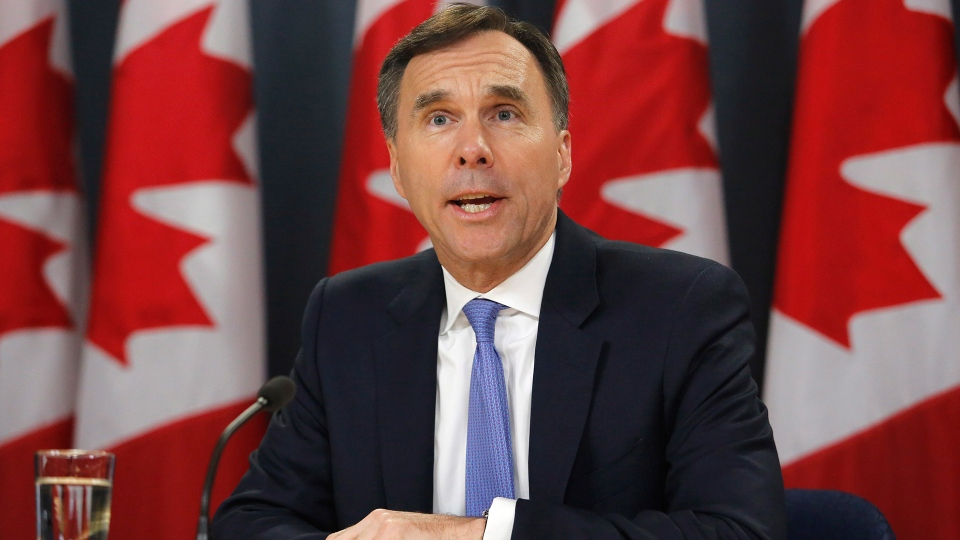 Finance Minister Bill Morneau speaks about the Trans Mountain Expansion project at a press conference in Ottawa on Wednesday, May 16, 2018. (Patrick Doyle / THE CANADIAN PRESS)