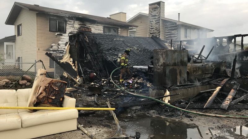 Firefighters were called to the garage fire at 38 St. and 123 Ave. after 5:30 a.m. Wednesday, May 16, 2018.