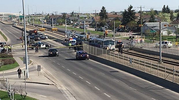 Police were called to a crash between a CTrain and pedestrian near Whitehorn Station on May 16, 2018.