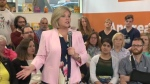 Andrea Horwath speaks to supporters in Kitchener on Tuesday, May 15, 2018.