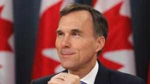 Finance Minister Bill Morneau speaks about the Trans Mountain Expansion project at a press conference in Ottawa on Wednesday, May 16, 2018. THE CANADIAN PRESS/ Patrick Doyle