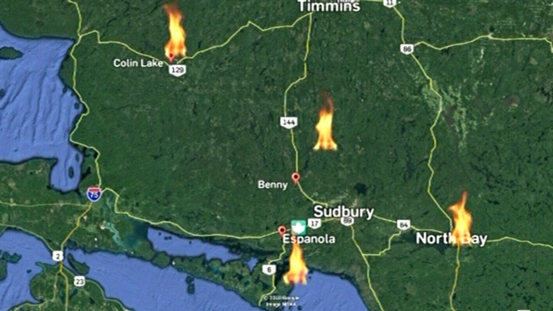 Northbay Fire Map.Forest Fire Risk Ctv News Northern Ontario