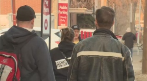 Volunteers walk through Regina for a point-in-time count on April 18, 2018