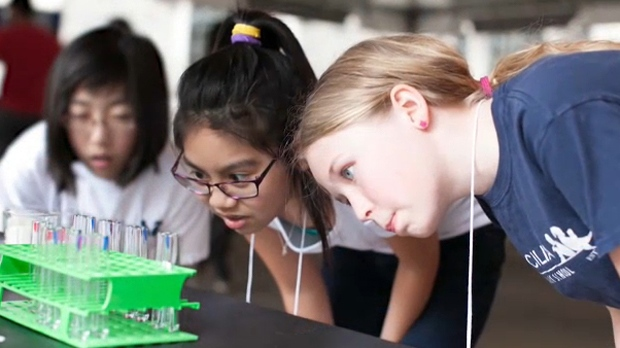 Nearly 1,000 female students took part in the Explore STEM program in Calgary on Wednesday. (Supplied)