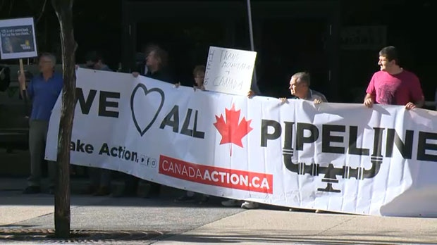 A number of people showed up outside the Kinder Morgan annual shareholder's meeting to show support for the project.
