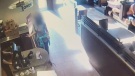 A woman was recorded defecating in a Tim Hortons in Langley, B.C. this week then hurling the feces over the counter. (Liveleak)