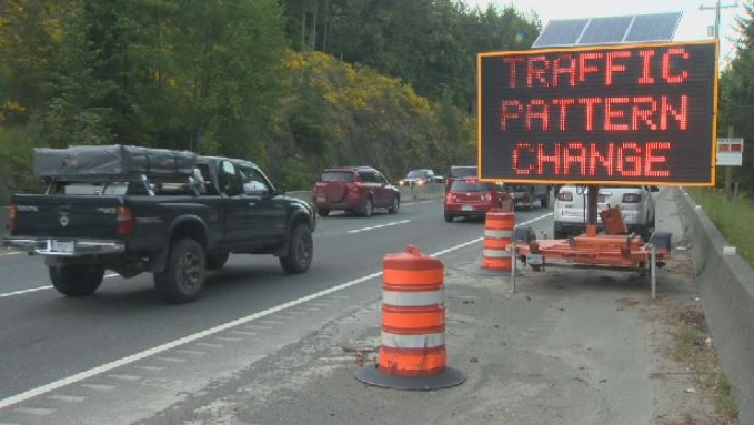 Traffic passes through a construction zone on the Malahat Highway. May 15, 2018. (CTV Vancouver Island)