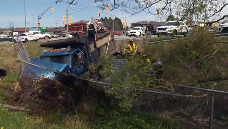 Woman dies after dump truck collides with car in Lower Sackville