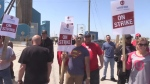 Unifor picket at Compass mine in Goderich.  Goderich salt mine