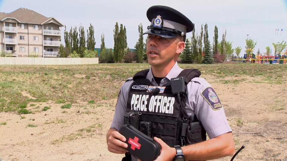 Peace Officer Jeremy Hampton was on patrol in Seba Beach when he picked up a vial containing fentanyl.