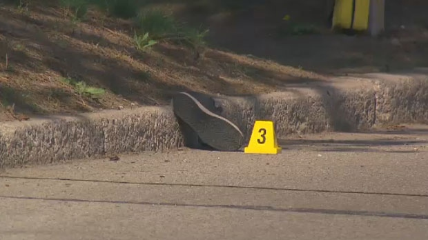 A shoe is seen at the scene of a hit-and-run in Mississauga on May 16, 2018.