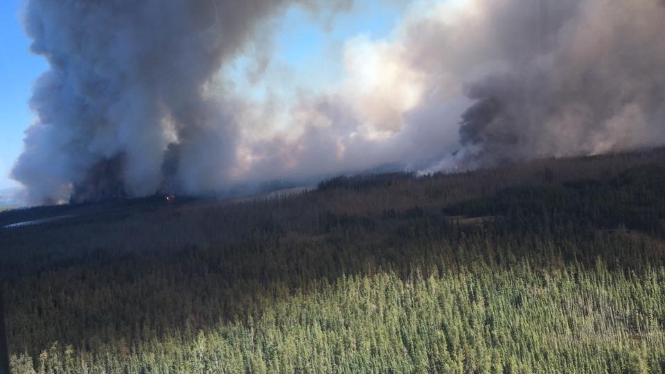 A wildfire burns west of Waterhen Lake First Nation. (Courtesy: Facebook/David Fluery).