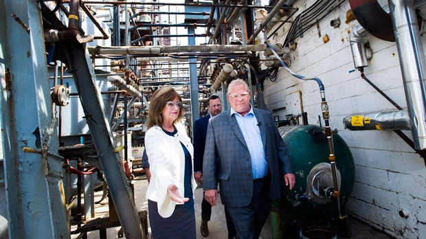 Ontario PC leader Doug Ford tours Fielding Environmental during a campaign stop in Mississauga, Ont., on Wednesday, May 16, 2018. (THE CANADIAN PRESS/Nathan Denette)