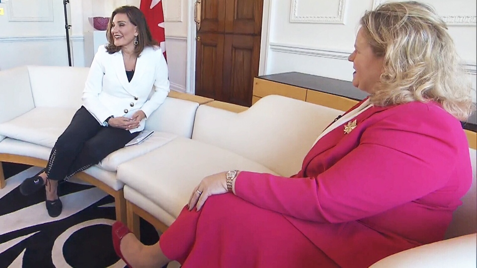 CTV National News Chief Anchor and Senior Editor Lisa LaFlamme speaks with Janice Charette, who serves as High Commissioner for Canada to the United Kingdom, at Canada House in London.