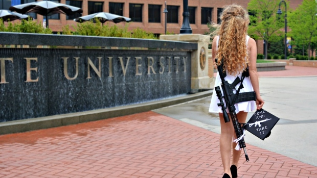 Student celebrates graduation by taking huge AR-10 rifle to university