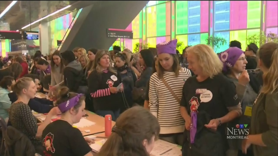 About 1,200 daycare workers gathered at Palais des Congres on May 17, 2018 to discuss whether or not to stage a long-term strike