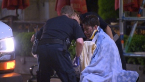 At least three people were taken to hospital after a man went on a rampage with a weapon in downtown Victoria Wednesday night. May 16, 2018. (CTV Vancouver Island)