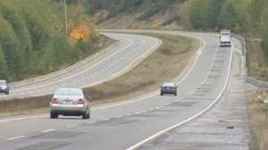 The seven-kilometre stretch of the Inland Island Highway south of Buckley Bay, between Waterloo and Rosewall Creeks, will be smoothed over this summer. May 17, 2018. (CTV Vancouver Island)