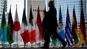A man walks past the flags of participating nations at the 2017 United Nations Peacekeeping Defence Ministerial conference in Vancouver, B.C., on Tuesday November 14, 2017. (THE CANADIAN PRESS/Darryl Dyck)