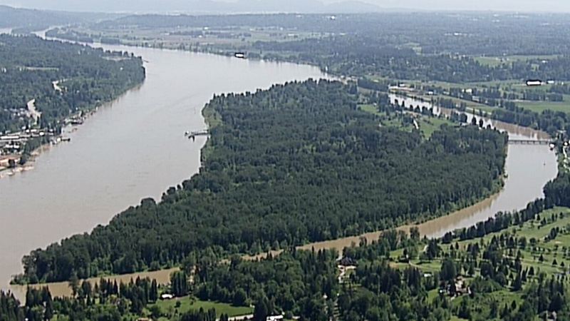 The Fraser River is seen from CTV's Chopper 9.