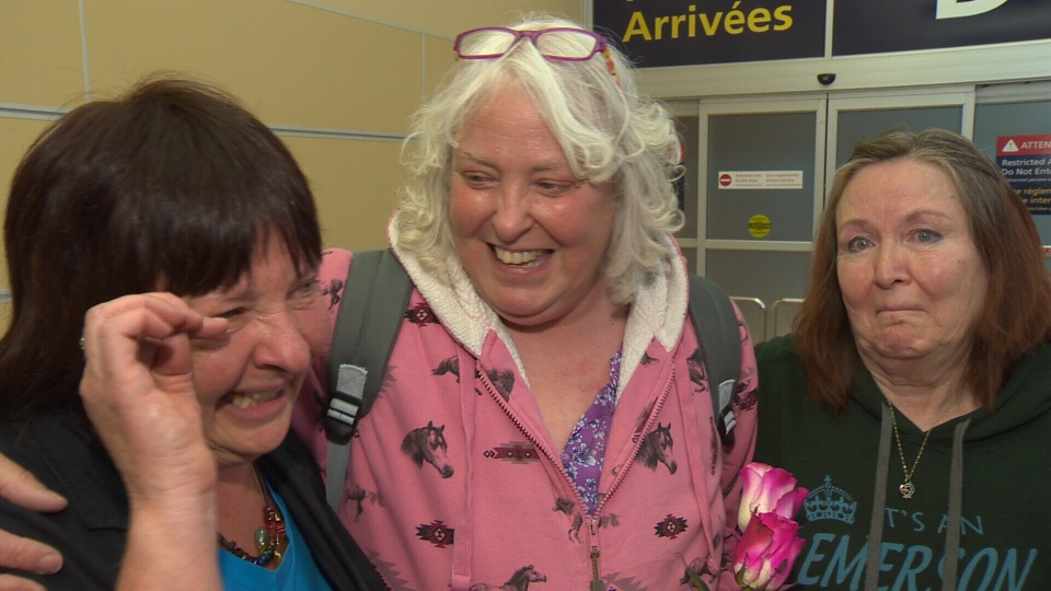 From left to right: Phyllis Podsenik, Karen Emerson-Nadolski and Sheryl Emerson had a tearful reunion at Edmonton International Airport on Thursday, May 17, 2018.