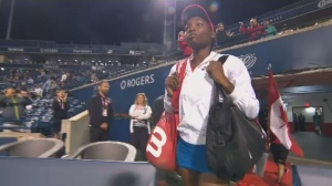 Quebec Tennis star Francoise Abanda has been swept up in a political war of words.