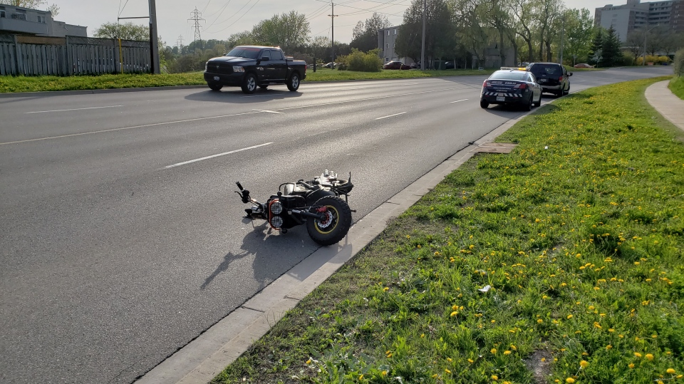 An SUV and an e-bike collided on Westmount Road in Kitchener on Thursday, May 17, 2018. (Scott Clarke / CTV Kitchener)