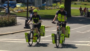 B.C. Emergency Health Services is once again rolling out a team of paramedics on bikes in Victoria in a bid to combat the overdose crisis. May 17, 2018. (CTV Vancouver Island)