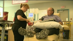 Blood donor celebrates milestone donation