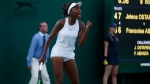 Canada's Francoise Abanda celebrates winning a point against Latvia's Jelena Ostapenko during their Women's Single Match on day three at the Wimbledon Tennis Championships in London Wednesday, July 5, 2017. (AP Photo/Alastair Grant)
