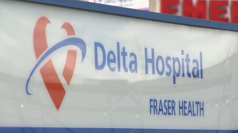 A Delta Hospital sign outside the emergency room is shown.