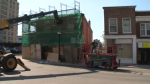 A close call for some construction works in Kitchener after a truck dislodged scaffolding.