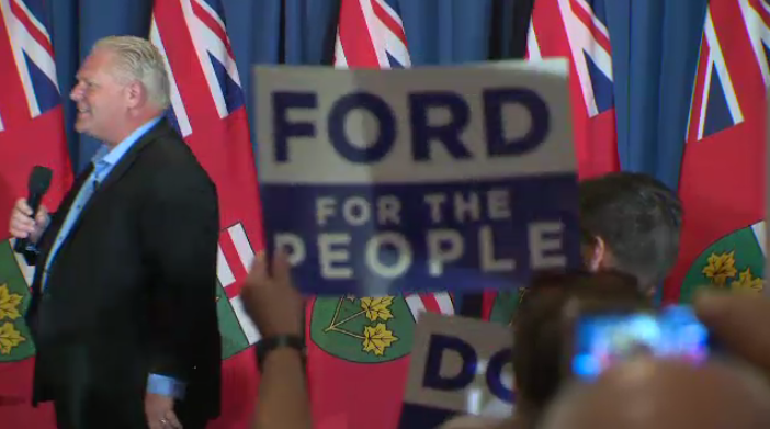 Supporters rallied with Doug Ford in Kitchener on Thursday evening.