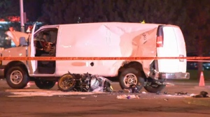 A 26-year-old motorcyclist is dead after being hit by a truck in Pointe-Claire on the morning of Fri., May 18, 2018.