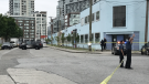 Police respond to a double-shooting at a home on Industrial Avenue near Station Street. May 18, 2018. (Steve Murray / CTV Vancouver)