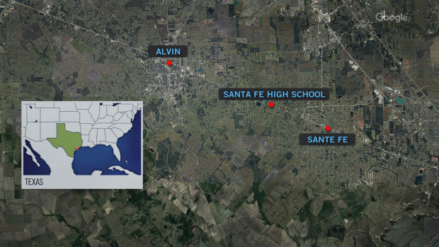 Santa Fe Texas school shooting map