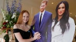 "Faith Dickinson, 15, from Peterborough, Ont. poses with cutouts of Prince Harry and Meghan Markle in Windsor, England on Friday, May 18, 2018. Teenage royal wedding guest Dickinson says she's got her ""dream dress"" ready for the wedding. (THE CANADIAN PRESS/Kirsty Wigglesworth)"