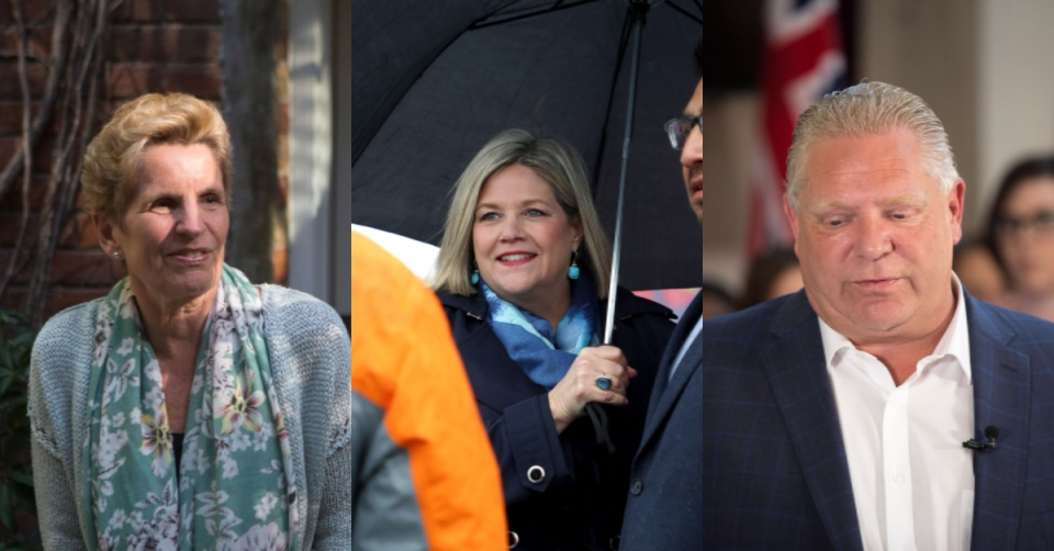 Ontario's party leaders campaign across the province on May 18, 2018. (Chris Young/Colin Perkel/Andrew Ryan/THE CANADIAN PRESS)