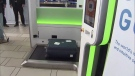 Officials at YVR say the new made-in-Vancouver self-serve baggage check kiosks will be four times faster than the current process.
