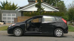 Officers are investigating what appears to be a bizarre theft in Esquimalt after a man woke up to find his driver's side car door missing. May 18, 2018. (CTV Vancouver Island)