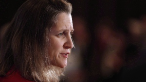 Chrystia Freeland, Minister of Foreign Affairs, participates in a question and answer session at a Winnipeg Chamber of Commerce luncheon in Winnipeg, Wednesday, April 4, 2018. THE CANADIAN PRESS/John Woods