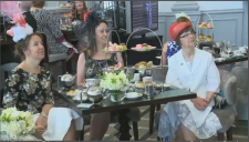 Ottawa residents watch the royal wedding at a Royal Tea event at the Chateau Laurier