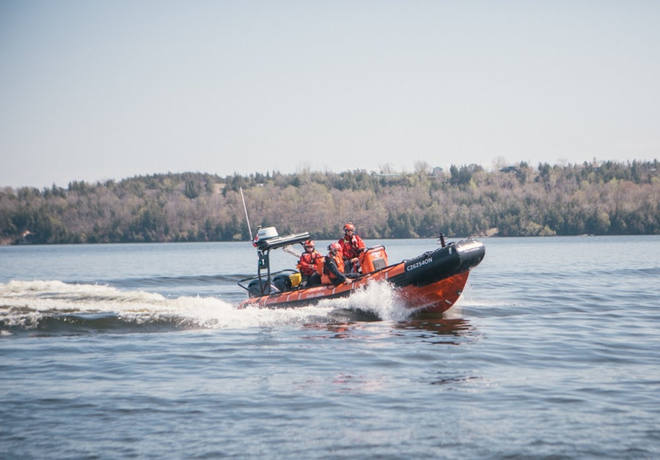 The Canadian Coast Guard's inshore rescue boat is seen here during training exercises in May 2018 at Trenton, Ont. (Photo courtesy of the Canadian Coast Guard)