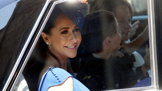 Jessica Mulroney arrives at the wedding ceremony of Prince Harry and Meghan Markle at St. George's Chapel in Windsor Castle in Windsor, near London, England, Saturday, May 19, 2018. (Chris Jackson/pool photo via AP)