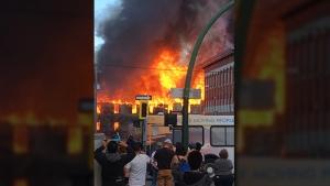 Manitoba Premier Brian Pallister tweeted a photo of a fire in Brandon, Man. (Brian Pallister/Twitter)