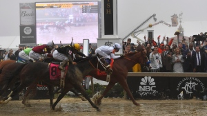 Justify with Mike Smith atop wins the 143rd Preakness Stakes horse race at Pimlico race track, Saturday, May 19, 2018, in Baltimore. (AP Photo/Mike Stewart)