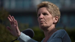 Ontario Liberal Leader Kathleen Wynne makes a policy announcement in Toronto, on Friday May 18, 2018. (THE CANADIAN PRESS/Chris Young)